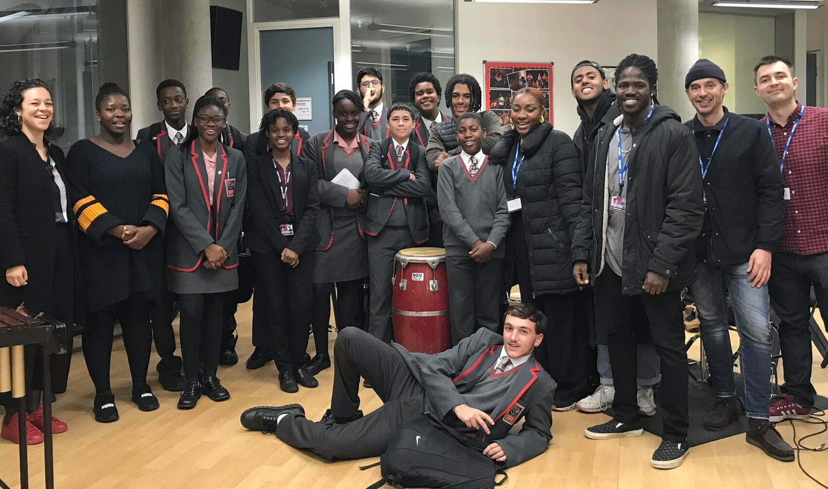 Future Sound students and musicians lined up together smiling